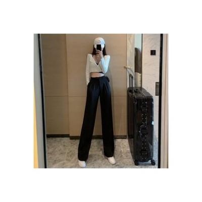 【送料無料】デザイン 感 ワイドレッグ スーツのズボン 女 秋 ファッション 韓国風   364331_A63907-5562474