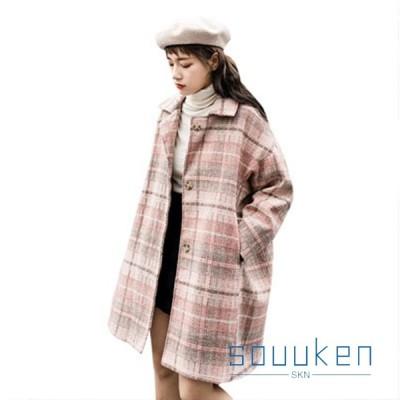 秋冬 メルトンコート レディース ステンカラー ロング丈 中綿入り 防寒 防風 暖かい ラシャコート 大きいサイズ ゆったり 着痩せ