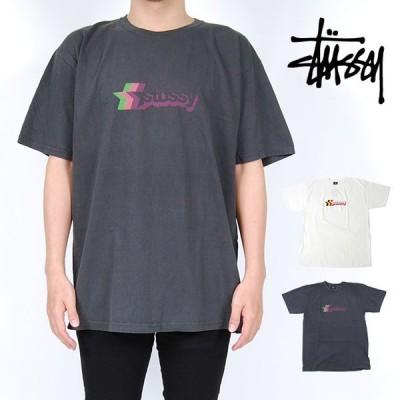 STUSSY ステューシー Tシャツ 3 STAR PIG DYED TEE BLACK NATURAL 半袖 トップス ブラック 黒 ナチュラル オフホワイト スター 星 ロゴ ビンテージ風 メンズ 男