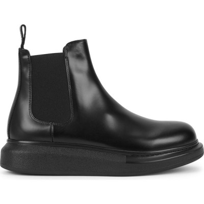 アレキサンダー マックイーン Alexander McQueen レディース ブーツ チェルシーブーツ シューズ・靴 Hybrid Black Leather Chelsea Boots Black