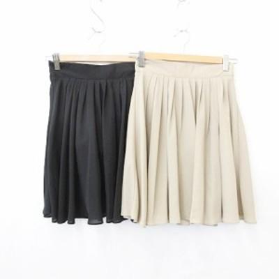 【中古】r.p.s アールピーエス フレアスカート 2枚セット タック 裏地付 ウエストゴム 黒 ベージュ ブラック M