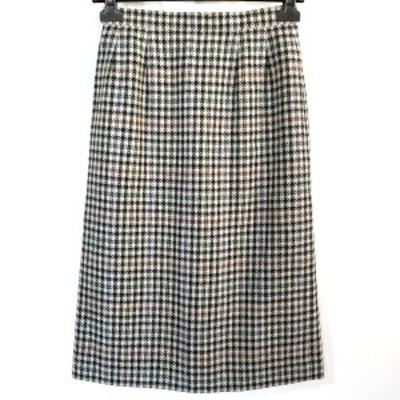 バーバリーズ Burberry's ロングスカート サイズ9AR S レディース - ライトグレー×黒×マルチ チェック柄【中古】20210327