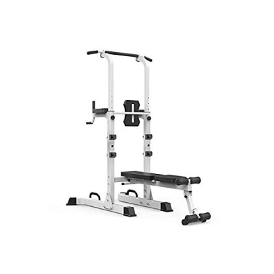 BZLLW Power Tower, Workout Dip Station with Sit up Bench, Home Gym Pull Up