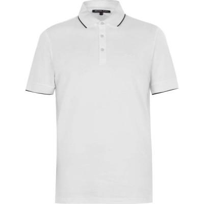 マイケル コース Michael Kors メンズ ポロシャツ トップス Bold Tip Polo Shirt White