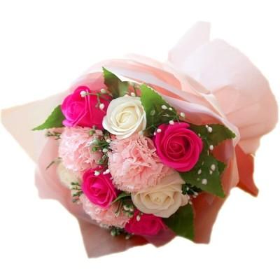 ソープフラワー 花束 ブーケ ピンク ローズ カーネーション バラの花束 造花 枯れない花 誕生日 記念日 お祝い 送別 退職 ギフト 母の日 花 プ