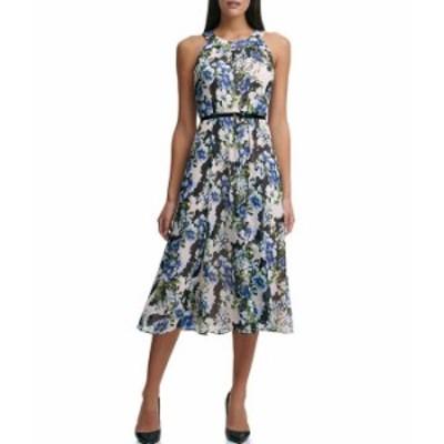トミー ヒルフィガー レディース ワンピース トップス Sleeveless Halter Neck Floral A-Line Midi Dress Powder Multi