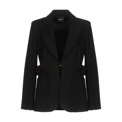アトス ロンバルディーニ ATOS LOMBARDINI テーラードジャケット ブラック 44 レーヨン 57% / ナイロン 35% / ポリウレ