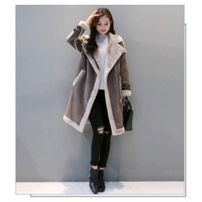 ロング丈 コート アウター レディース 女性 ムートンコート風 裏起毛 ボア 大きいサイズ 大人 無地 送料無料