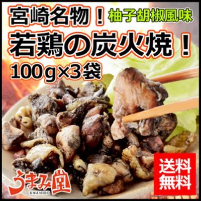 【送料無料】国産若鶏使用!宮崎名物の若鶏の炭火焼 メール便 ゆず胡椒風味 100g×3パック!常温保存OK、おつまみ、おかず、非常食にも♪