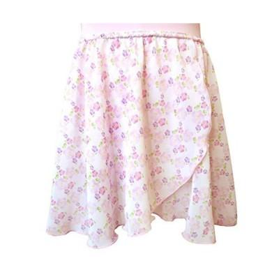 バレエ スカート 子供〜大人[小花柄・プルオンスカート] 日本製 ウエストゴムタイプのシフォンスカート (ピンク小花 JL(身長135〜150cm)