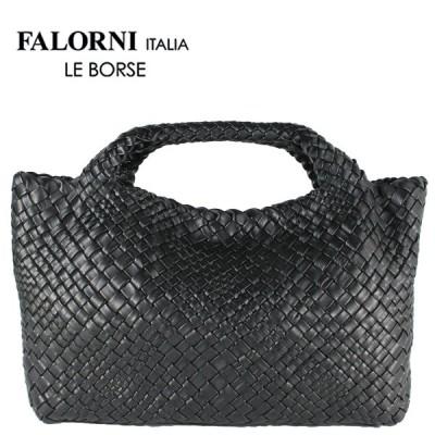 国内正規品 即日発送 FALORNI ファロルニ ラムレザー イントレチャート トートバッグ 1058 (ブラック)