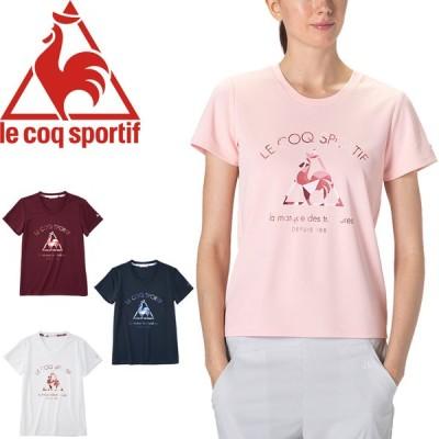 半袖 Tシャツ レディース 吸汗速乾 UPF50+ ルコック le coq sportif サンスクリーンTEE/スポーツウェア フィットネス 女性 クルーネック プリント /QMWRJA06