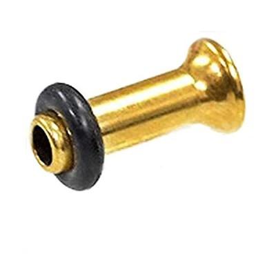 シングルフレアアイレット ゴールド/ブラック サージカルステンレス 6G(ボディピアス/ボディーピアス) (ゴールドカラー)