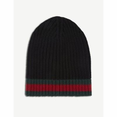 グッチ GUCCI メンズ ニット ビーニー 帽子 Striped knitted wool beanie BLACK
