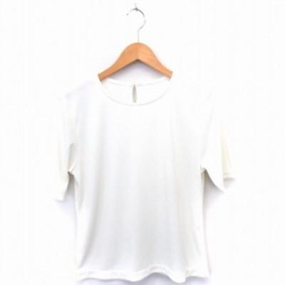 【中古】Tシャツ カットソー 無地 丸首 半袖 9AR ホワイト 白 /FT19 レディース