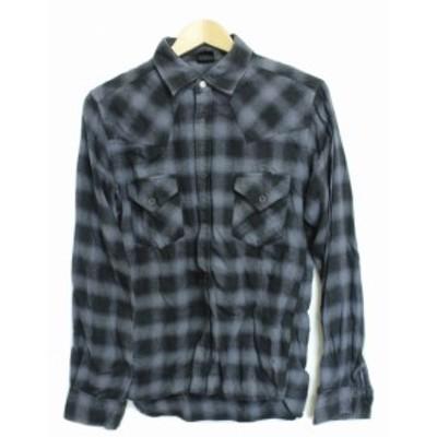 【中古】ジャックローズ チェックシャツ 長袖 3 黒×グレー オンブル柄 綿 スナップボタン 胸ポケット トップス メンズ