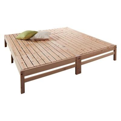 国産ひのき天然木すのこシングルベッド 棚なしお得な2点セット
