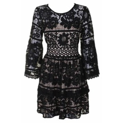 kensie ケンジー ファッション ドレス Kensie Noir Combo Bell-Sleeve Differencie Lacets Fit & Flare ROBE TAILLE S