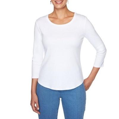 ルビーアールディー レディース Tシャツ トップス Solid Knit Scoop Neck 3/4 Sleeve Cotton Top