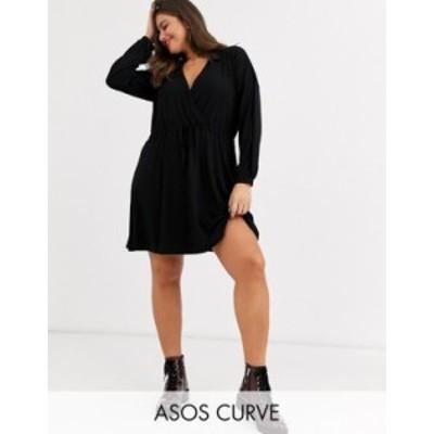 エイソス レディース ワンピース トップス ASOS DESIGN Curve long sleeve mini wrap dress in black Black