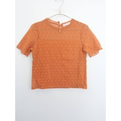 chocol raffine robe レース切替五分袖プルオーバー 五分袖 オレンジ レディース Aランク F