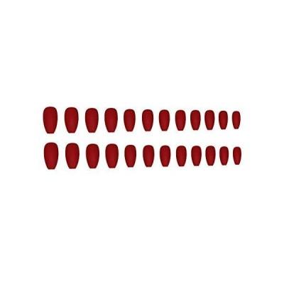 Tooart 24個バレリーナピュアカラーマットコフィンネイルフルカバーミディアムフォールスジェルフロストプレスネイル人工ネイルアートのヒントセットバ