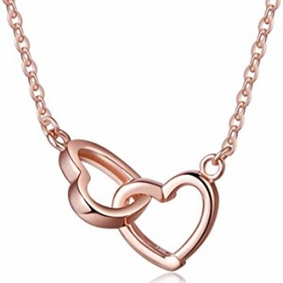 Infinite U Interlocking Hearts Pendant Women's 925 Sterling Silver Necklace Best Gift for Her, Rose Gold