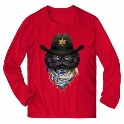 【アメリカンショートヘア ねこ カウボーイ 日本 浮世絵 バンダナ】メンズ 長袖 Tシャツ by Fox Republic