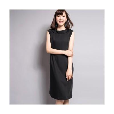 【SALE 30%OFF】ポリエステル/ダブルサテン ワンピース(ブラック)【Sov.】DOUBLE STANDARD CLOTHING(ダブスタ)