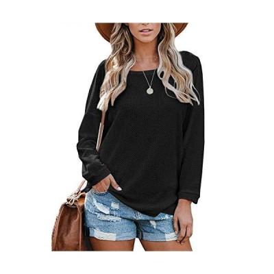 Chuanqi Womens Crewneck Sweater Waffle Knit Casual Long Sleeve Side Split F