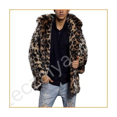 Shirt Jackets for Men with Hood.Mens Leopard Warm Thick Fur Collar Coat Jacket Faux Fur Parka Outwear Cardigan並行輸入品