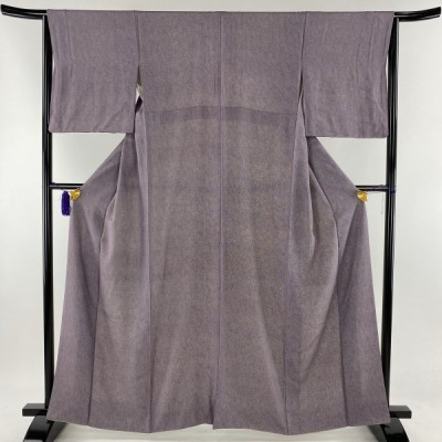 江戸小紋 美品 秀品 鮫模様 紫 袷 身丈162cm 裄丈64cm M 正絹 【中古】