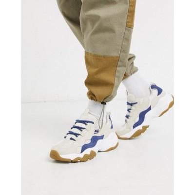 スケッチャーズ Skechers メンズ スニーカー シューズ・靴 d'lites 3.0 trainers in white and tan ホワイト