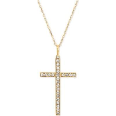 """メイシーズ Macy's ユニセックス ネックレス ジュエリー・アクセサリー Diamond Cross 18"""" Pendant Necklace (1/4 ct. t.w.) in 10k Gold White Gold"""