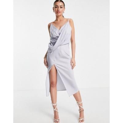 エイソス ASOS DESIGN レディース ワンピース drape front midi slip dress with wrap skirt
