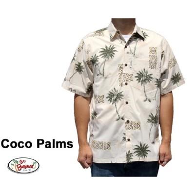 Go Barefoot ゴーベアフット アロハシャツ ココパームス USA製 Coco Palms サンド ベージュ