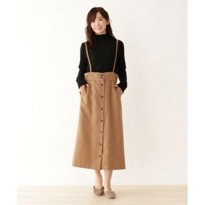 SHOO・LA・RUE/シューラルー サス付きミディー丈スカート キャメル(041) 02(M)