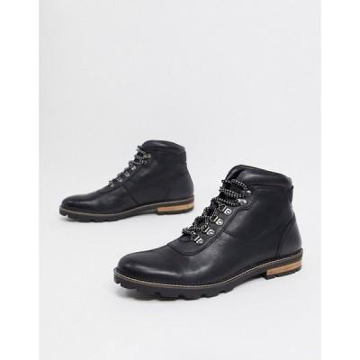 ベンシャーマン Ben Sherman メンズ ブーツ ショートブーツ レースアップブーツ シューズ・靴 hiker lace up ankle boots in black leather ブラック