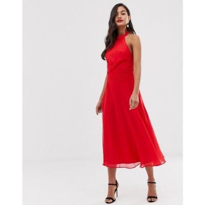 エイソス ASOS DESIGN レディース ワンピース ワンピース・ドレス midi dress with high neck and drape waist detail Poppy red