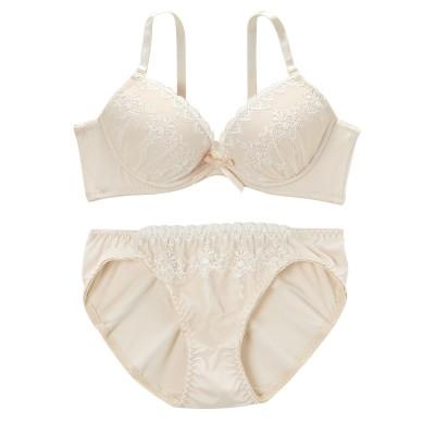 シンプルレディーブラジャー・ショーツセット(脇高タイプ)(B65/M) (ブラジャー&ショーツセット)Bras & Panties