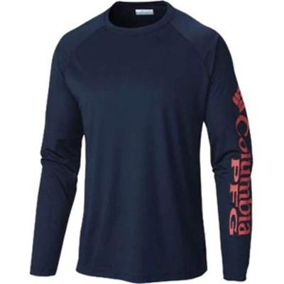 コロンビア メンズ Tシャツ トップス Columbia Men's Terminal Tackle LS Shirt Collegiate Navy / Sunset Red
