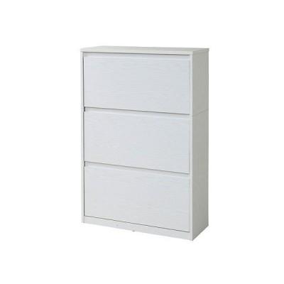 JKプラン 靴箱 シューズボックス 下駄箱 ワイド 3段 大容量 最大18足 薄型ラック 収納 玄関(ホワイト)