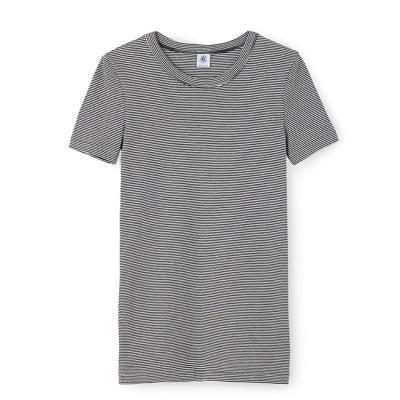 【プチバトー/PETIT BATEAU】 ミラレクルーネック半袖Tシャツ