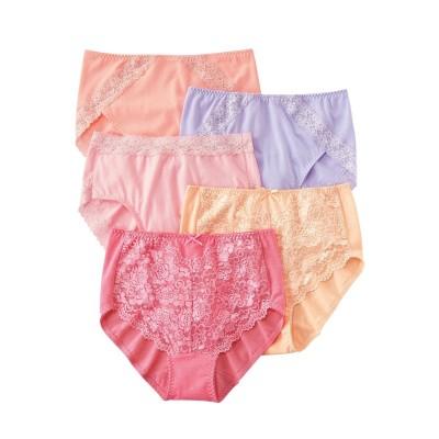 綿100%レーシー深ばきデザインショーツ5枚組(M) スタンダードショーツ, Panties