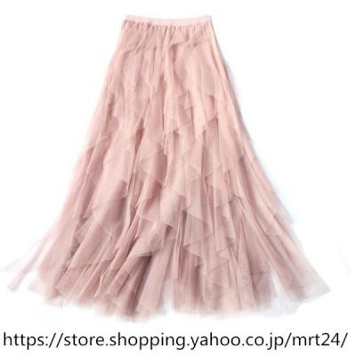 秋と冬の長いメッシュガーゼスカート妖精のスカートの新しいハイウエストの韓国バージョン