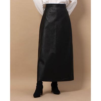 フレーム Frame フェイクレザートラベーズスカート (ブラック)