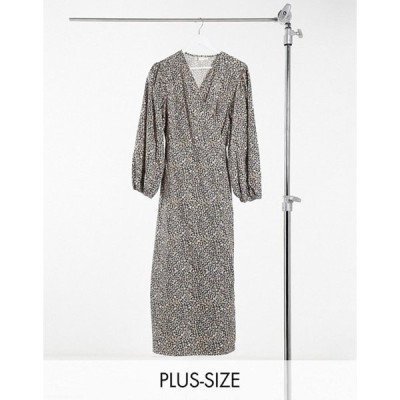 グラマラス レディース ワンピース トップス Glamorous Curve relaxed wrap midi dress in mini floral print
