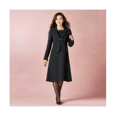 【喪服。礼服】テーラードアンサンブル(ジャケット+前開きワンピース)(オールシーズン対応)<大きいサイズ有> (ブラックフォーマル)Funeral Outfit