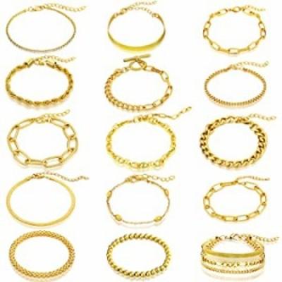 Hicarer 15 Pieces Women Chain Bracelets Set Adjustable Gold Cuban Snake Geometric Beaded Hip Hop Chunky Chain Link Bracelet for