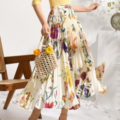 花柄  プリーツ ロングスカート レディース ロングスカート 柄 大柄 エレガント 春夏 きれいめ カラフル 大人可愛い 白